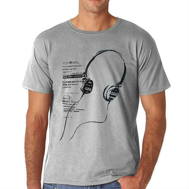 3 different style summer T-shirt - Print Headphone - chart9 / M - T-Shirts