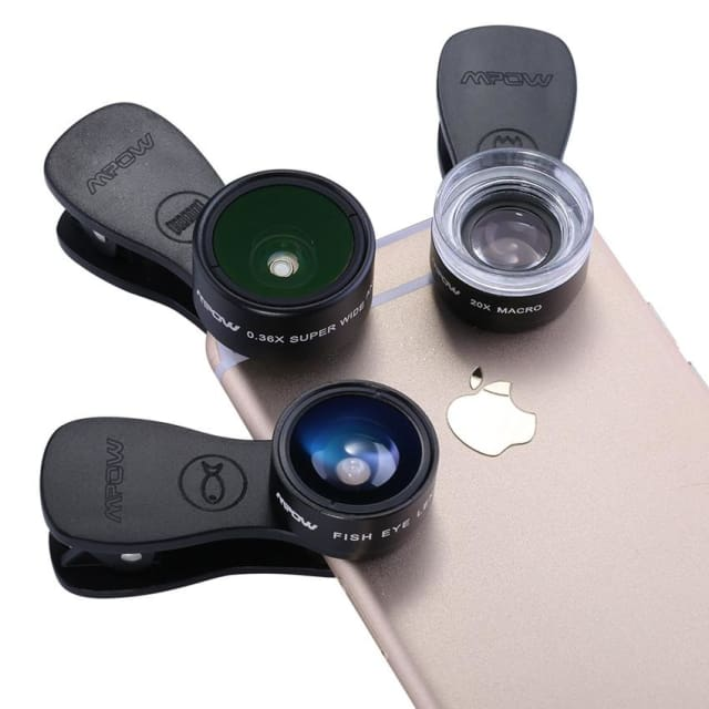 3 in 1 Clip-On Mobile Phone Lens Kits 180 Degree Fisheye Lens + 0.36X Wide Angle Lens + 20X Macro Lens 3 Separate Lens - Phone Lenses