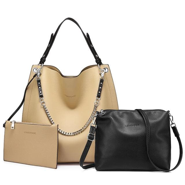 3 sets women handbag large tote bag chain shoulder bag with soft artificial leather female cross body bag small purse - Apricot / China /