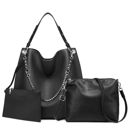 3 sets women handbag large tote bag chain shoulder bag with soft artificial leather female cross body bag small purse - Black / China /