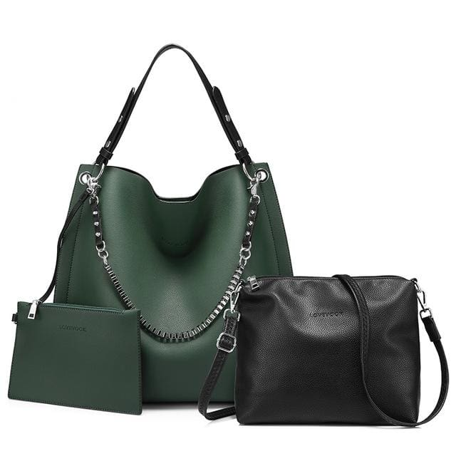 3 sets women handbag large tote bag chain shoulder bag with soft artificial leather female cross body bag small purse - Green / China /