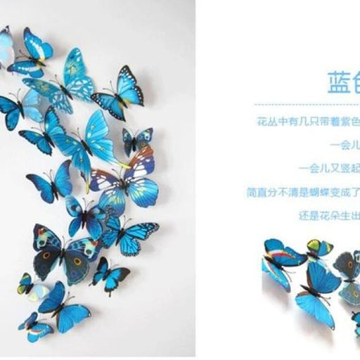 3D Butterfly Wall Sticker Home Decoration - blue - Wall sticker