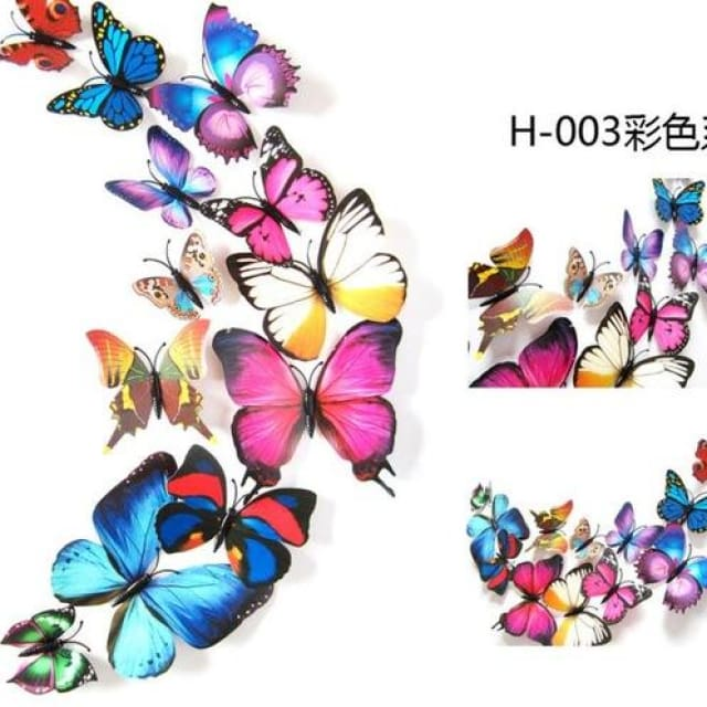 3D Butterfly Wall Sticker Home Decoration - colourful - Wall sticker