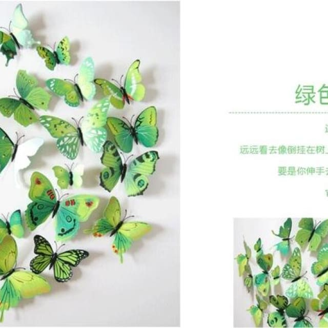 3D Butterfly Wall Sticker Home Decoration - green - Wall sticker