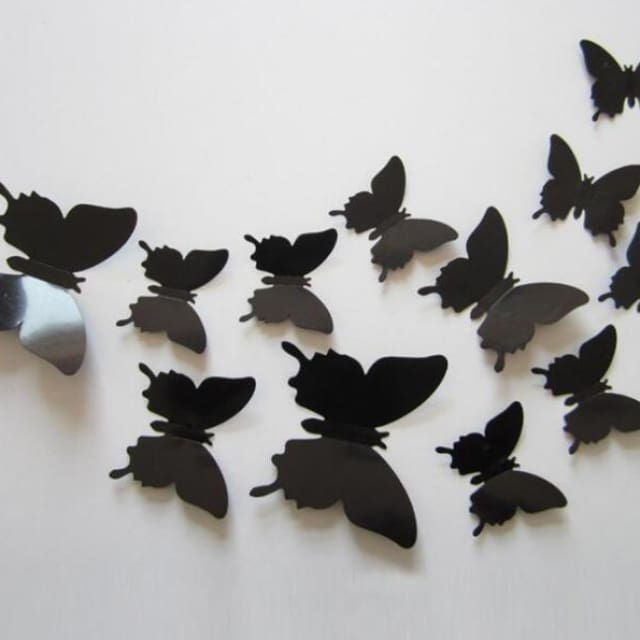 3D Butterfly Wall Sticker Home Decoration - lightblack - Wall sticker