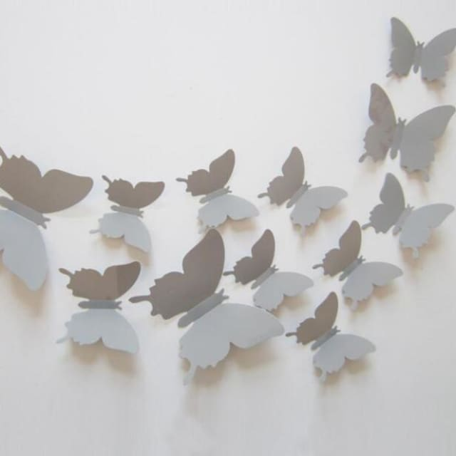 3D Butterfly Wall Sticker Home Decoration - lightgray - Wall sticker