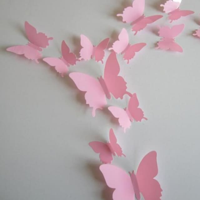 3D Butterfly Wall Sticker Home Decoration - lightpink - Wall sticker