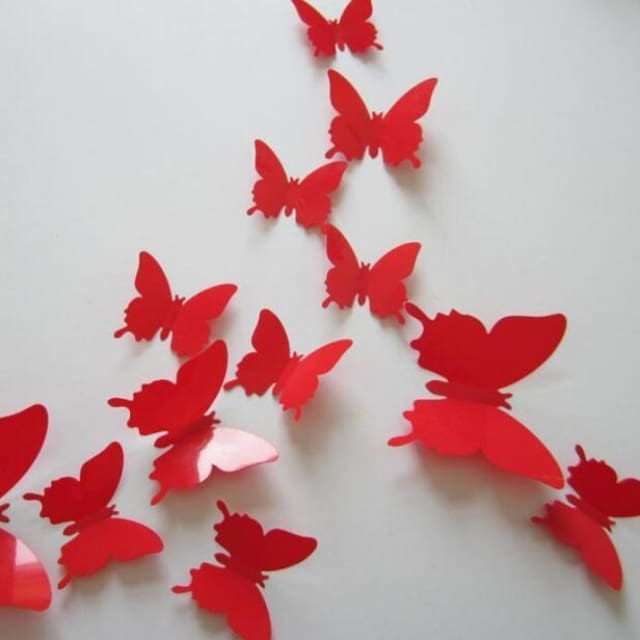 3D Butterfly Wall Sticker Home Decoration - lightred - Wall sticker