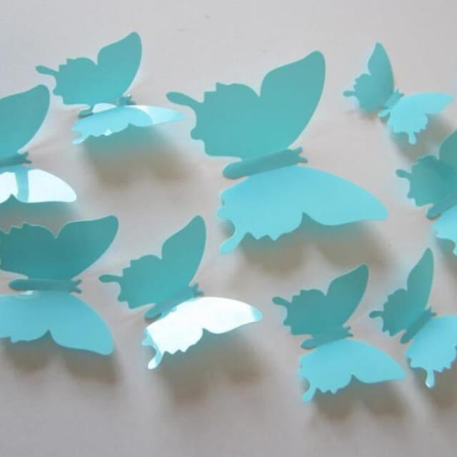 3D Butterfly Wall Sticker Home Decoration - lightskyblue - Wall sticker