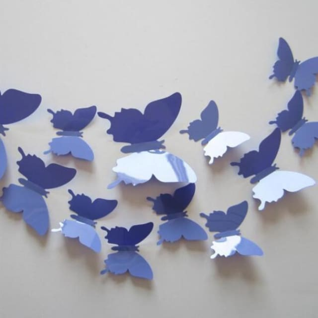 3D Butterfly Wall Sticker Home Decoration - lightviolet - Wall sticker