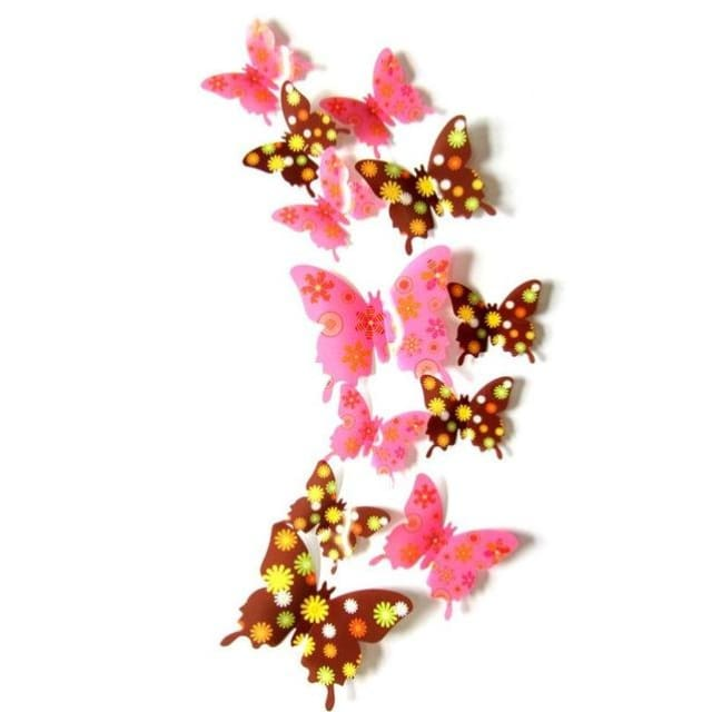 3D Butterfly Wall Sticker Home Decoration - pinkflower - Wall sticker