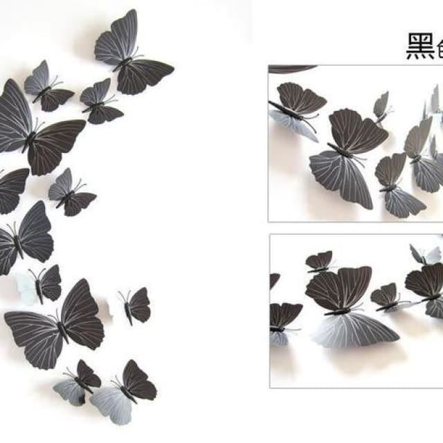 3D Butterfly Wall Sticker Home Decoration - pureblack - Wall sticker