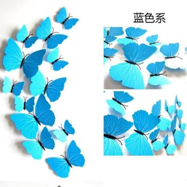 3D Butterfly Wall Sticker Home Decoration - pureblue - Wall sticker