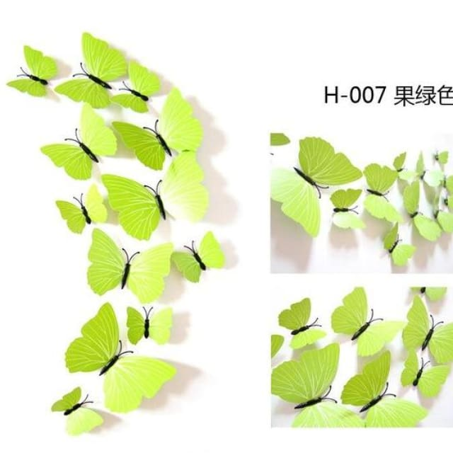 3D Butterfly Wall Sticker Home Decoration - puregreen - Wall sticker
