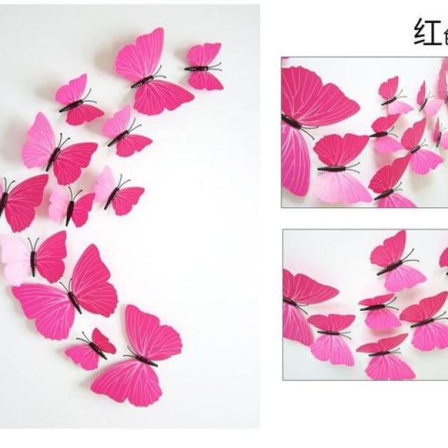 3D Butterfly Wall Sticker Home Decoration - purerosered - Wall sticker