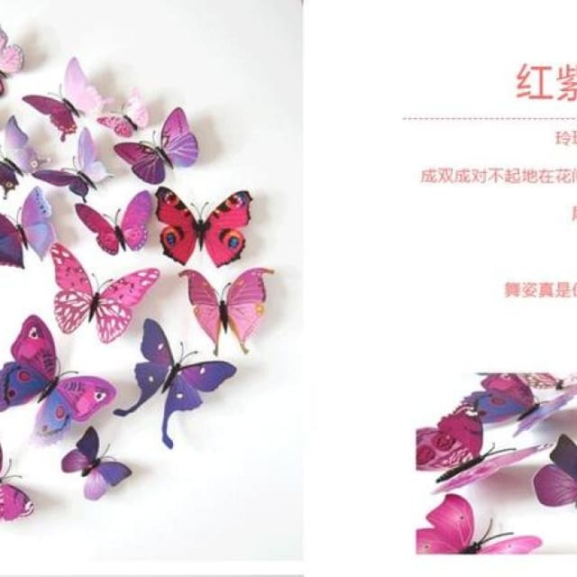 3D Butterfly Wall Sticker Home Decoration - purplered - Wall sticker