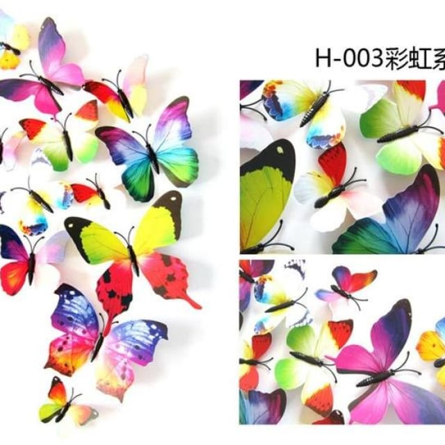 3D Butterfly Wall Sticker Home Decoration - rainbow - Wall sticker
