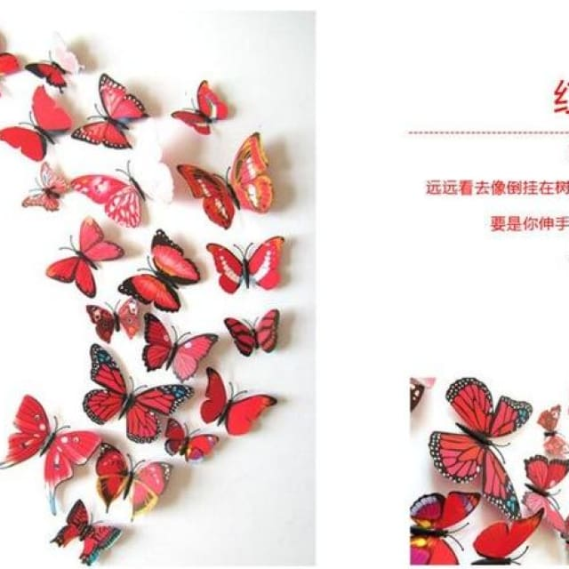 3D Butterfly Wall Sticker Home Decoration - red - Wall sticker