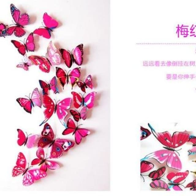 3D Butterfly Wall Sticker Home Decoration - rosered - Wall sticker