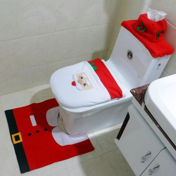 3Pcs/set Christmas Toilet Seat Cover - 01 - Toilet Seat Cover