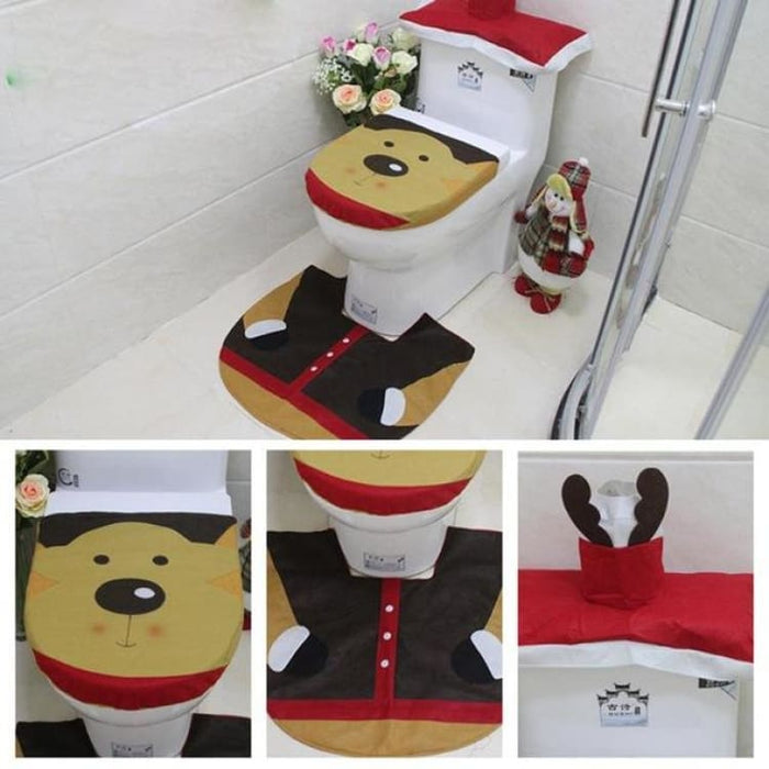 3Pcs/set Christmas Toilet Seat Cover - 02 - Toilet Seat Cover