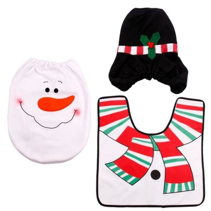 3Pcs/set Christmas Toilet Seat Cover - 03 - Toilet Seat Cover