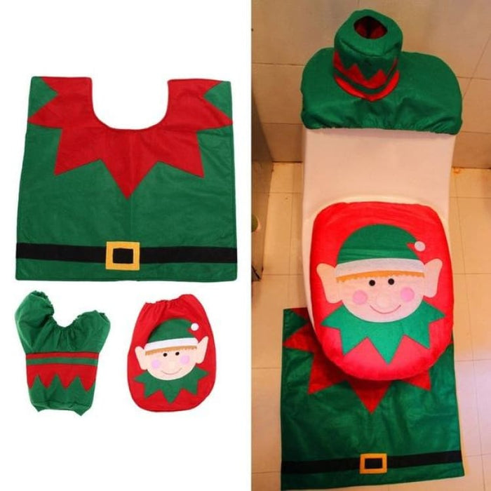 3Pcs/set Christmas Toilet Seat Cover - 04 - Toilet Seat Cover