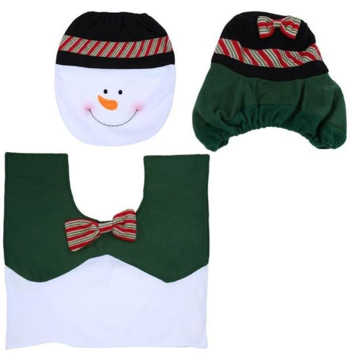 3Pcs/set Christmas Toilet Seat Cover - 05 - Toilet Seat Cover