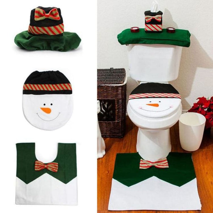 3Pcs/set Christmas Toilet Seat Cover - 06 - Toilet Seat Cover