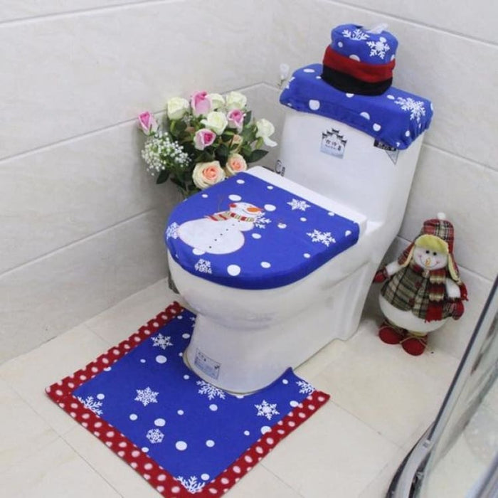 3Pcs/set Christmas Toilet Seat Cover - 09 - Toilet Seat Cover