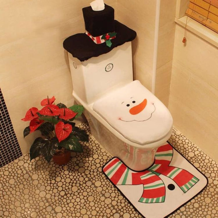 3Pcs/set Christmas Toilet Seat Cover - 12 - Toilet Seat Cover