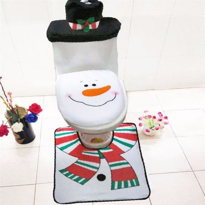 3Pcs/set Christmas Toilet Seat Cover - 14 - Toilet Seat Cover