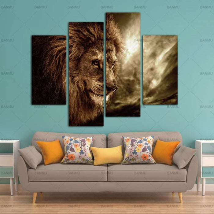 4 Panel Wall Art Brown Fierce Lion - Painting & Calligraphy