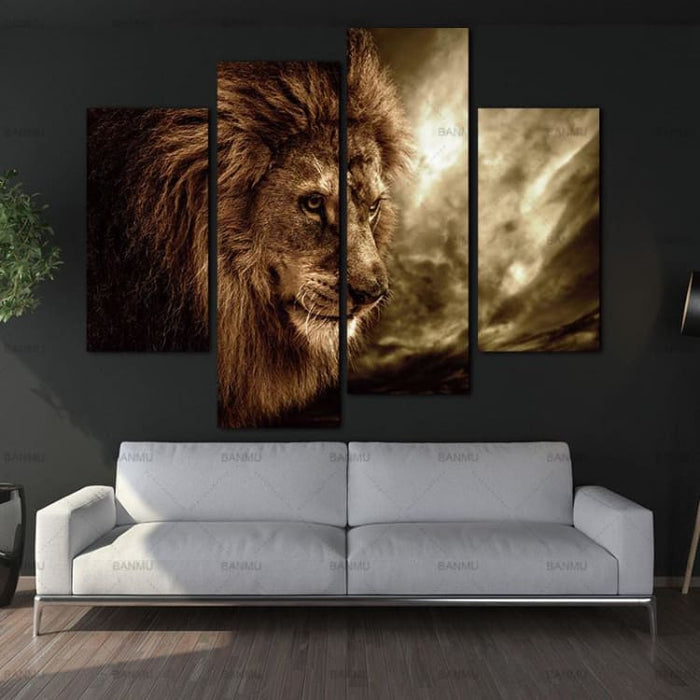 4 Panel Wall Art Brown Fierce Lion - 30X60X2 30X80X2 - Painting & Calligraphy