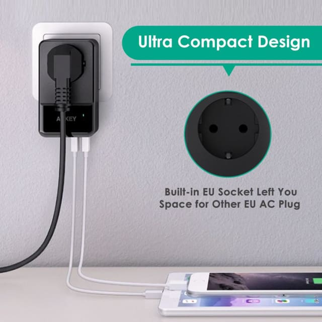 4-Port USB Charger With Built-in Socket - Mobile Phone Chargers