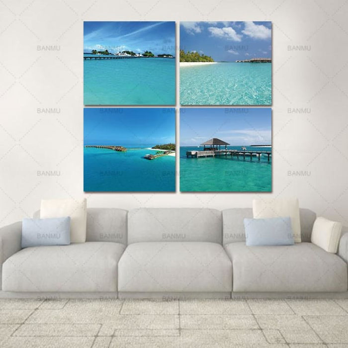 4pcs Canvas Wall Art for Home - Beach - Painting & Calligraphy