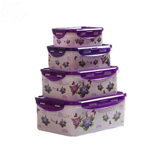 4pcs/Set Plastic Food Containers - Purple - Storage Boxes & Bins