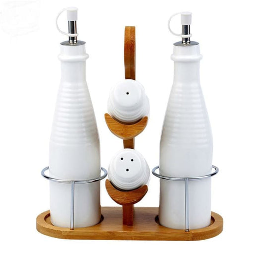 5pcs Ceramic Condiment Set Oil and Vinegar Cruets + Salt and Pepper Shakers + Serving Tray Kitchen Condiment Set - Storage Bottles & Jars