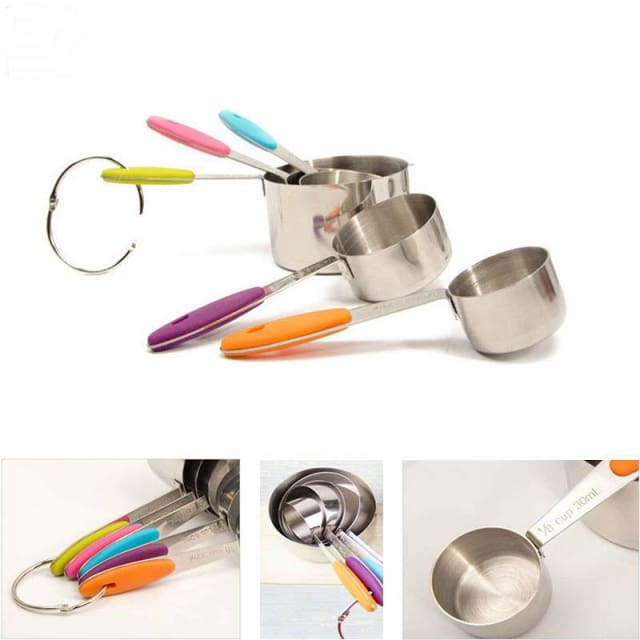 5Pcs Stainless Steel Measuring Cup with Silicone Handle - Measuring Cups