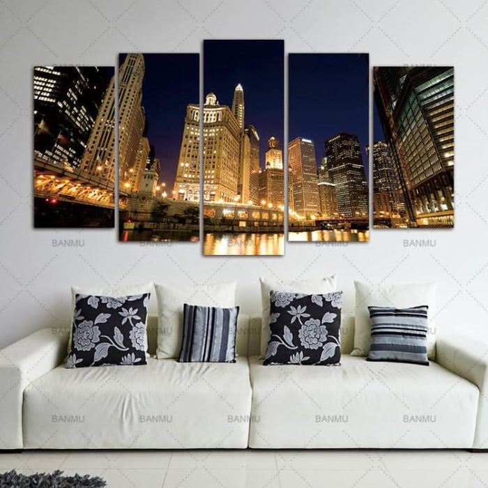 5pcs/set Chicago City Decoration Wall Unframed - Painting & Calligraphy