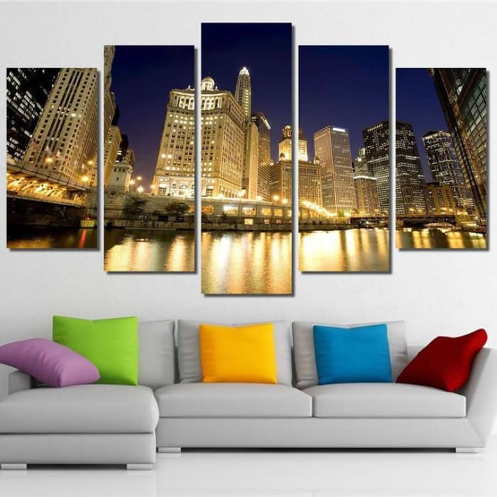 5pcs/set Chicago City Decoration Wall Unframed - size1 - Painting & Calligraphy