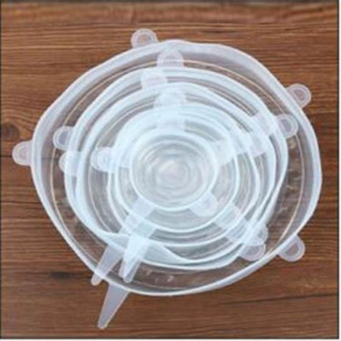 6Pcs/Set Silicone Stretch Lids For Vegetable and Fruit Fresh - Transparent - Cookware Lids