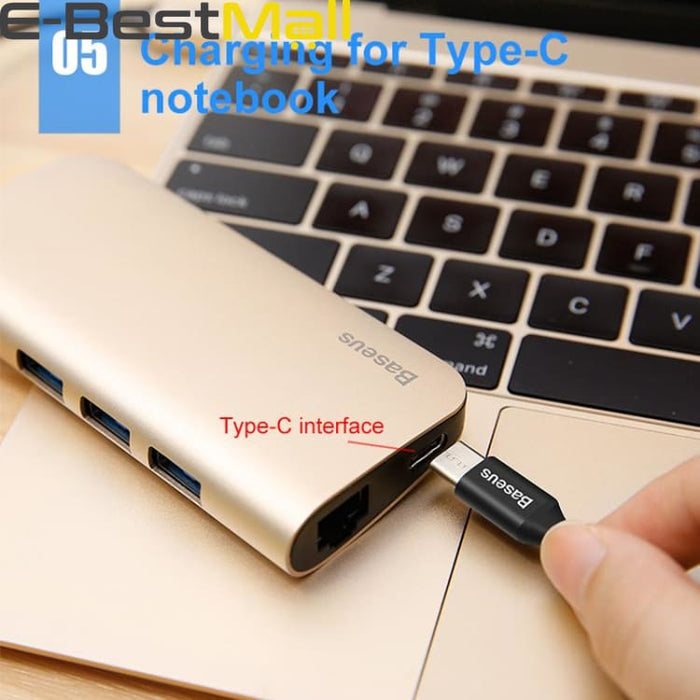 8 in 1 USB-C HUB with Type-c to Multi USB 3.0 HDMI RJ45 Ethernet Network Micro SD TF Card Reader OTG - USB Hubs