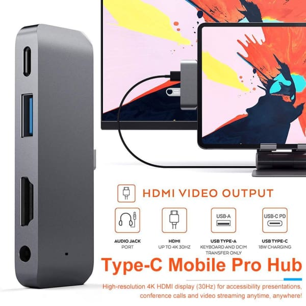 Aluminum Type-C Mobile Pro Hub Adapter with USB-C PD Charging 4K HDMI USB 3.0 3.5mm Headphone Jack for 2018 iPad Pro - iPad accessories