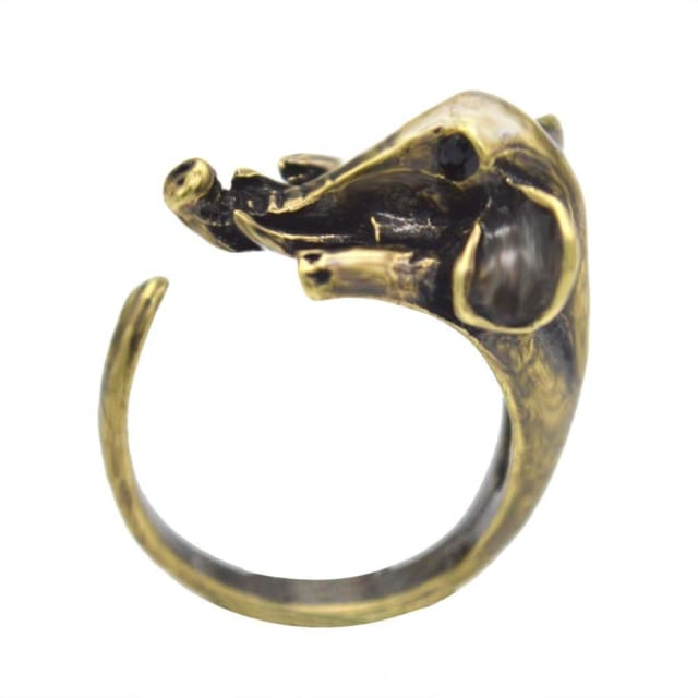 Antique Elephant Rings - Resizable / Antique Bronze Plated