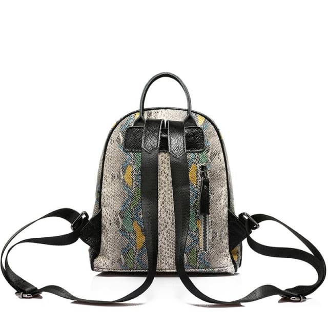 Backpack for womens and teenage girls with artificial leather serpentine - Backpack