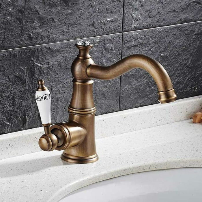 Basin Faucet With Ceramic Handle - Tap Mixer Hot Cold Water - Antique - Basin Faucets