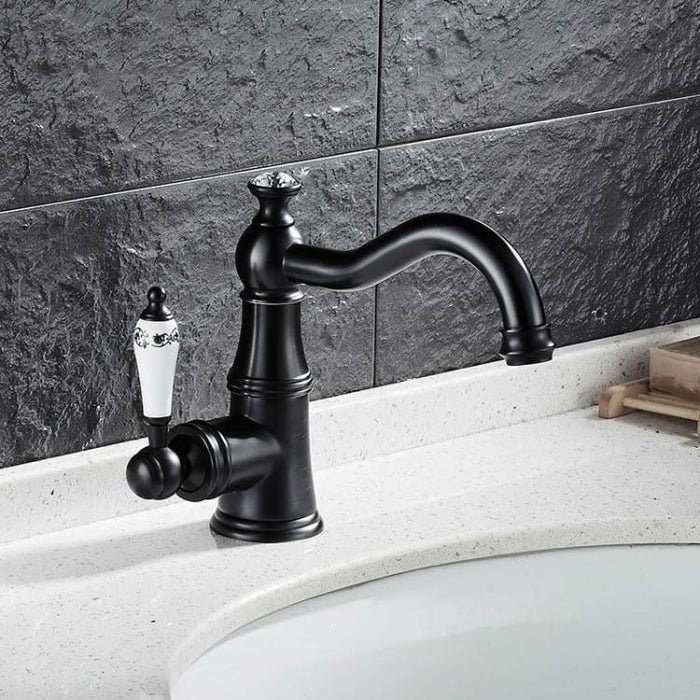 Basin Faucet With Ceramic Handle - Tap Mixer Hot Cold Water - Black - Basin Faucets
