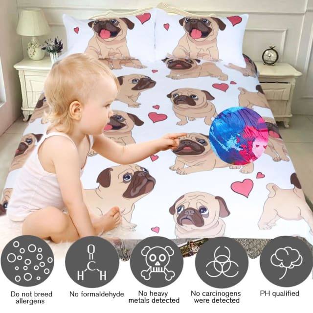 Bedding Set - Cute Bulldog Print - US Twin - Beddings Set