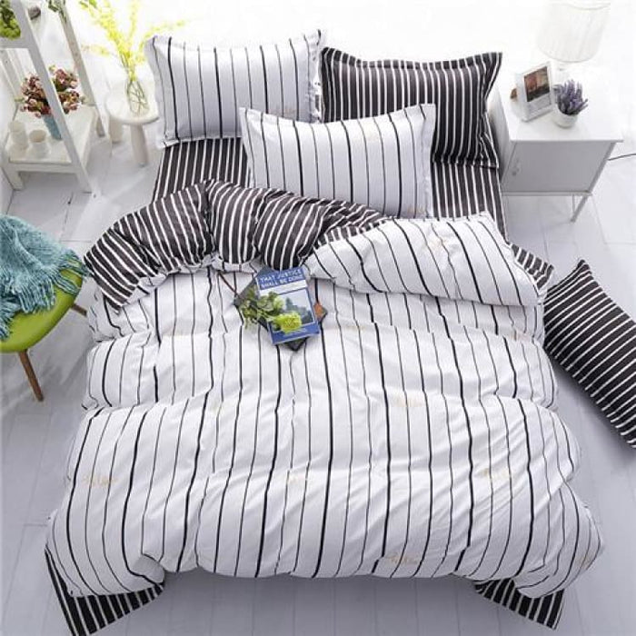 Bedding Set Korean Summer Style - black white stripe / Full - Bedding Sets